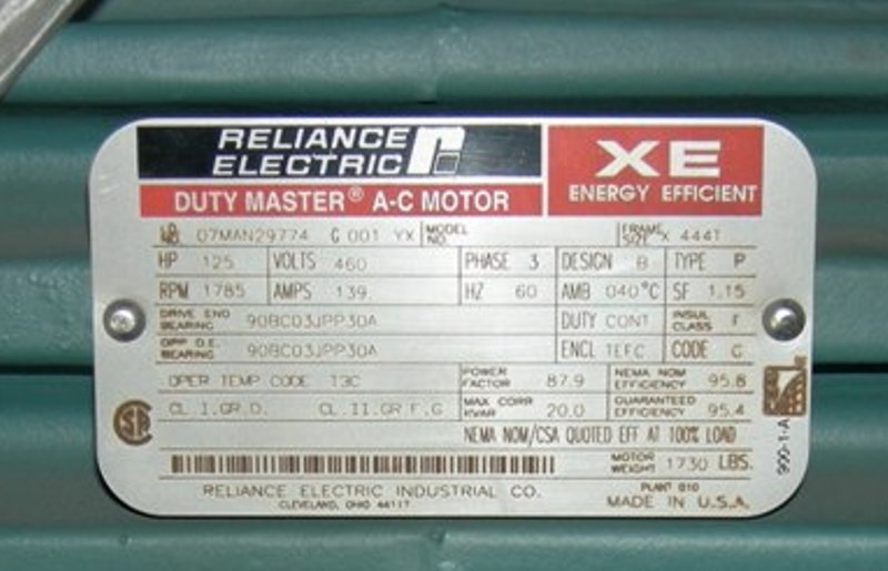 0 50 Hp 1800 Rpm Reliance Motor With 1 Hp 115 Volts Teco