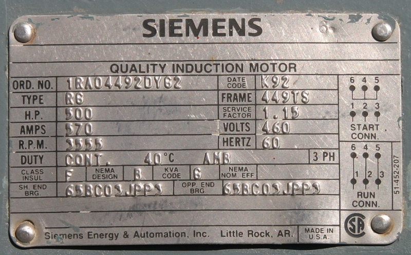2 pictures for Siemens motor data sheet